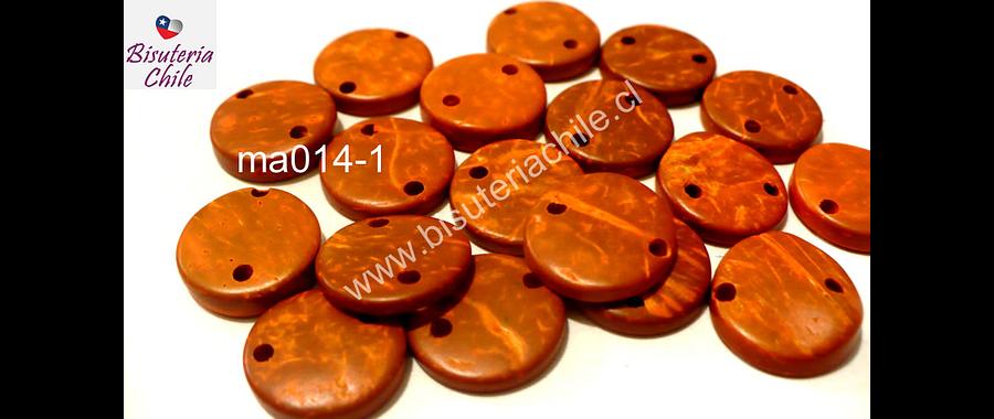 Cuenta de madera doble conexión 15 mm de diámetro, set de 20 cuentas aprox