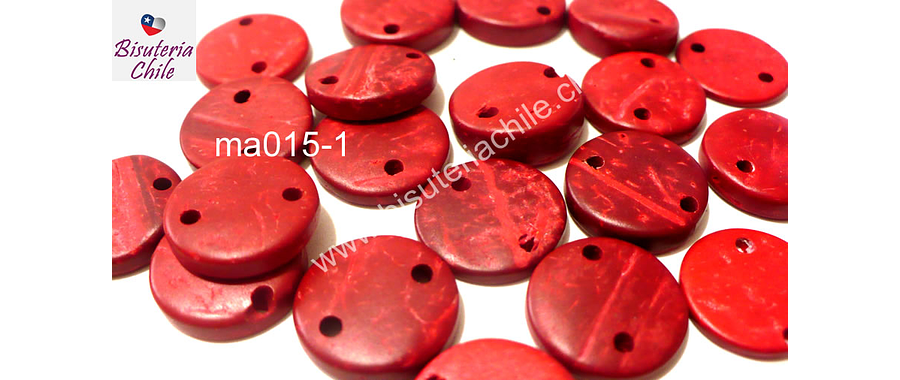 Cuenta de madera roja doble conexión 15 mm de diámetro, set de 20 cuentas aprox