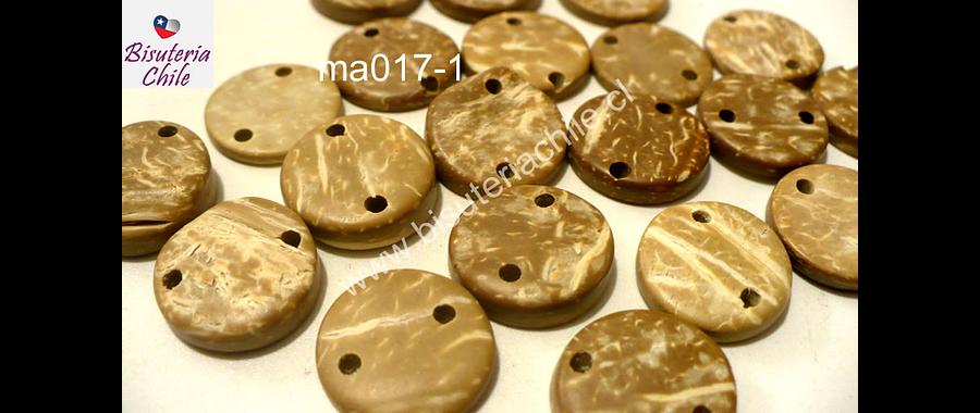 Cuenta de madera color madera doble conexión 15 mm de diámetro, set de 20 cuentas aprox