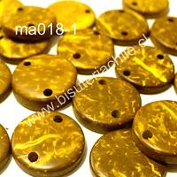 Cuenta de madera color amarillo doble conexión 15 mm de diámetro, set de 20 cuentas aprox