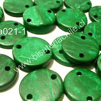 Cuenta de madera color verde doble conexión 15 mm de diámetro, set de 20 cuentas aprox
