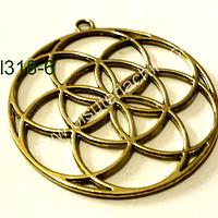 Colgante dorado tipo mandala, 44 mm de diámetro, por unidad