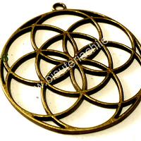 Colgante envejecido tipo mandala, 44 mm de diámetro, por unidad