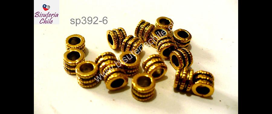Separador dorado, 4 mm de alto por 5 mm de ancho, agujero de 3 mm, set de 15 unidades