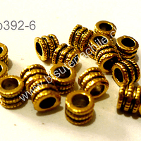 Separador dorado, 4 mm de alto por 5 mm de ancho, agujero de 3 mm, set de 18 unidades