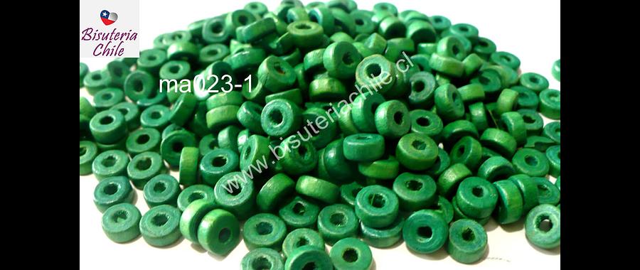 Madera color verde, 6 mm de diámetro por 3 mm de ancho, agujero de 2 mm, set de 25 grs