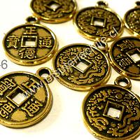 Dije dorado en forma de moneda china, 15 mm de diámetro, set de 8 unidades