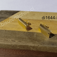 Base baño de oro, 12 x 8 mm, por par