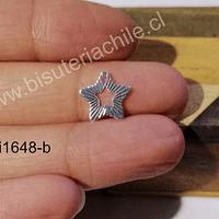 Dije estrella baño de plata, 13 mm, por unidad
