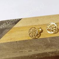 Base baño de oro, con forma de árbol de la vida, 11 mm, por par