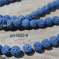 Piedra volcánica de 8 mm, en tono azul, tira de 48 piedras aprox.