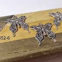 Dije plateado mariposa, 27 x 24 mm, set de 3 unidades