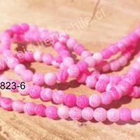 Agatas, Ágata frosting 6 mm en tono rosado, tira de 63 piedras aprox