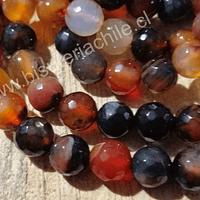 Agatas, Agata de 10 mm, jaspeada en tonos marrones, tira de 37 piedras aprox.