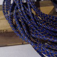 Cuero trenzado de 3 mm, en color azul, por metro
