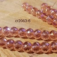 Cristal facetado especial chato de 12 mm, austriaco, extra brillo tornasol, set de 6 cristales