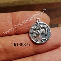 Dije baño de plata, árbol de la vida, 15 mm, por unidad