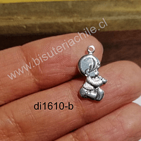Dije baño de plata en forma de bebe, 17 x 9 mm, por unidad