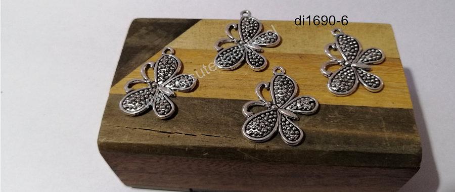 Dije plateado en forma de mariposa, 26 x 20 mm, set de 4 unidades
