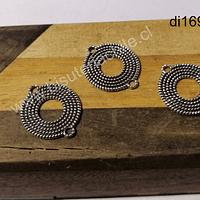 Dije plateado doble conexión, 19 mm de diámetro, set de 3 unidades