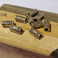 Separador dorado, 11 x 5 mm, agujero de 3 mm, set de 10 unidades