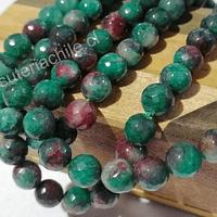 Agatas, Agata de 8 mm en tonos verde y rojos, tira de 46 piedras aprox
