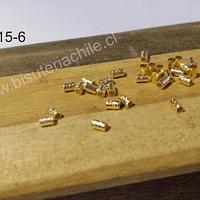 Separador baño de oro, 3 x 2 mm, agujero de 1,5, set de 1 grs, (23 aprox)