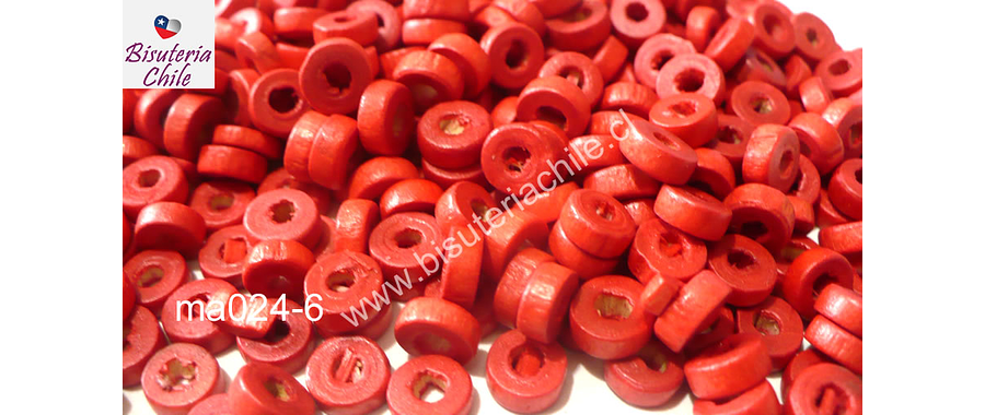 Madera color rojo, 6 mm de diámetro por 3 mm de ancho, agujero de 2 mm, set de 25 grs
