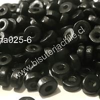 Madera color negro, 6 mm de diámetro por 3 mm de ancho, agujero de 2 mm, set de 25 grs