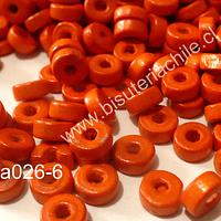 Madera color naranjo, 6 mm de diámetro por 3 mm de ancho, agujero de 2 mm, set de 25 grs