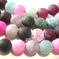 Agata frosting en colores pasteles, rosados, verde y celestes, 8 mm, tira de 48 piedras aprox