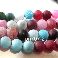 Agata frosting 6 mm, colores colores pasteles, rosados, verde y celestes, tira de 63 piedras aprox.