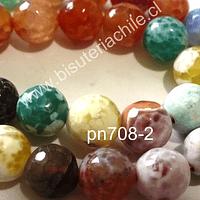Agata en tonos verdes, vcelestes,amarillos y naranjos, 10 mm, tira de 38 piedras aprox
