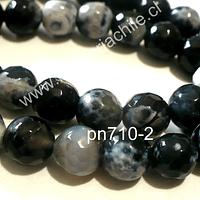 Agata facetada jaspeada en tonos negros y blancos de 8 mm, tira de 48 piedras apróx.