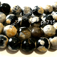 Agata facetada jaspeada en tonos negros y cafes de 8 mm, tira de 48 piedras apróx