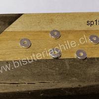 separador baño de plata, 6 x 1,5, agujero de 2 mm, set de 5 unidades