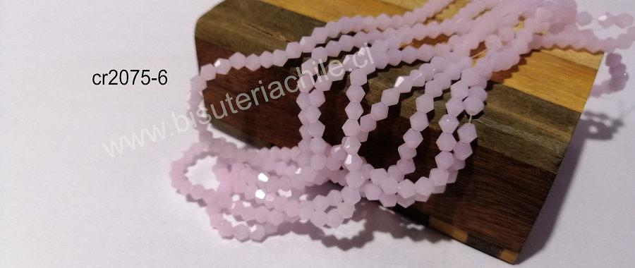 Cristal tupi 4 mm en color rosado, tira de 75 cristales aprox.