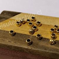 Separador dorado, 6 x 4 mm, agujero de 3 mm, set de 20 aprox.