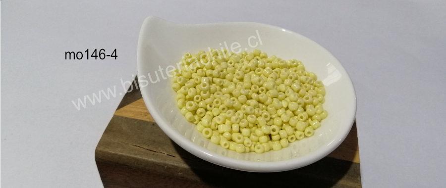 Mostacilla amarillo crema, 8/0 (3 mm), set de 50 grs
