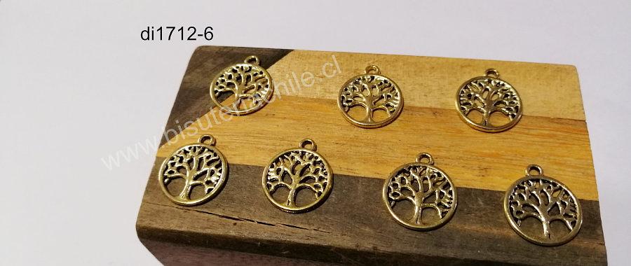 Dije dorado árbol de la vida, 15 mm, set de 7 unidades