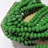 Cristal facetado de 6 mm, color verde, tira de 95 cristales aprox.