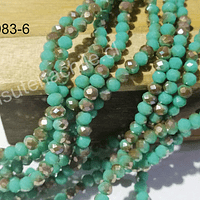 Cristal facetado verde on tonalidades café de 4 mm, tira de 145 cristales aprox.