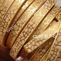 Cuero plano diseño en color beige y dorado, tira de 5 mm de ancho y 1,2 metros de largo