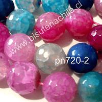 Agatas, Agata 14 mm en tonos celestes, azules y rosados, tira de 13 unidades