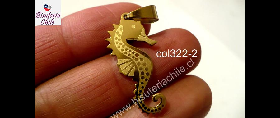 Colgante acero dorado en forma de caballo de mar, 29 mm de largo x 14 mm de ancho por unidad