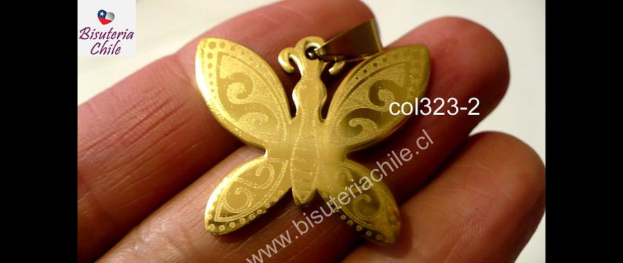 Colgante acero dorado en forma de mariposa, 25 mm de largo por 28 mm de ancho, por unidad