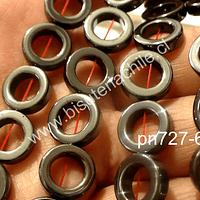 Hematite en forma de circulo 12 mm de diámetro, 4 mm de ancho, 8 mm de diámetro circulo interno, tira de 32 piedras aprox.