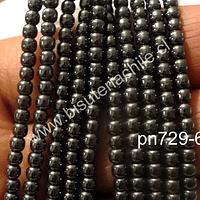 Hematite negra no imantada, 3 mm, tira de 140 piedras aprox.
