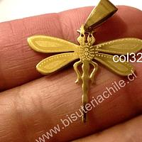Colgante acero dorado en forma de libélula, 25 mm de largo por 30 mm de ancho, por unidad