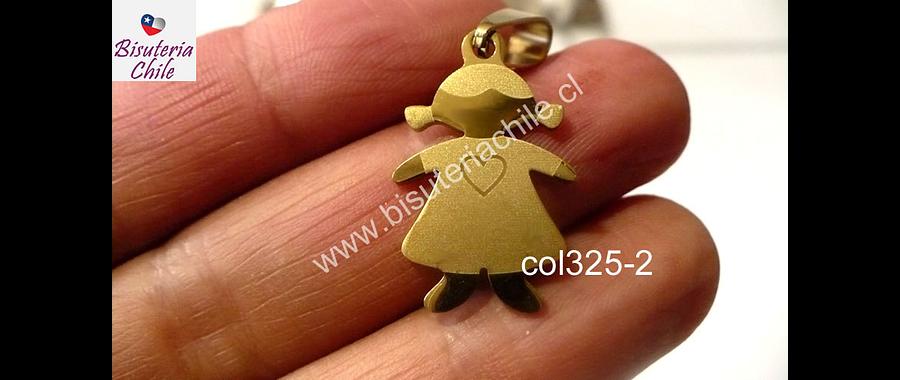 Colgante acero dorado en forma de niña 25 mm de largo por 16 mm de ancho, por unidad